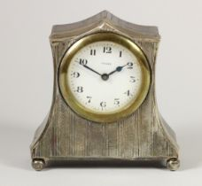 A silver mounted boudoir clock, Birmingham 1924, the white dial signed Veglia, with engine turned