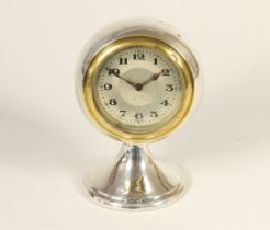 A silver boudoir clock, Birmingham 1922, the ball shape clock raised on a pedestal, 11cm, loaded