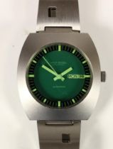 Louis Rossel, stainless steel automatic day/date gentleman's wristwatch, green dial, case 1624-A,