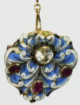Carlo & Arthur Giuliano, an unusual gold, enamel, garnet and paste brooch, c.1895-1914, the
