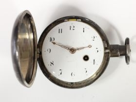 William Rogers, London, a silver full hunter pocket watch, London 1806, the white enamel dial with