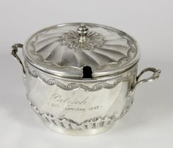 A Victorian silver two handled porringer and cover, by Nathan & Hayes, Chester 1898, with embossed