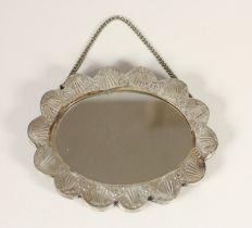 A silver mounted wall mirror, stamped AVC 900, with embossed decoration, 14 x 11cm, loaded, case