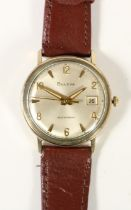 Bulova self winding, a gold plated automatic date gentleman's wristwatch, the silvered dial with