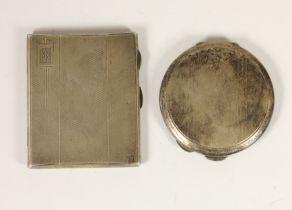 A silver compact, Birmingham 1951, lacking powder puff, and a silver cigarette case, Birmingham 1937