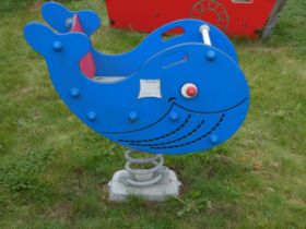 A Playdale outdoor/playground 'Springer' in the form of a whale, double-sided, made from high