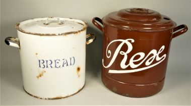 An early white enamel bread bin with lid 31cm diameter, together with a brown enamel example 35cm