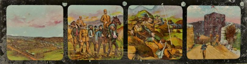 A set of twelve early Century coloured lantern slides, depicting the Transvaal war from the
