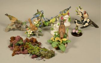 A collection of porcelain model birds, together with a pair