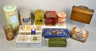 An early Huntley & Palmers biscuit tin in the form of a Gladstone bag, together with a collection of