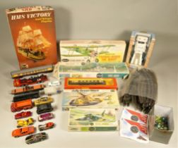 Model kits - to include a Guillows WW1 fighter plane, a Revell twin jet helicopter, a Revell ship '