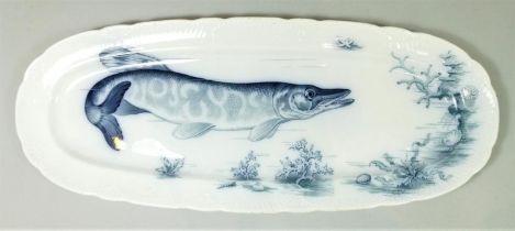 A Wallerfangen Villeroy Boch 'Neptun' fish server. Geschutzt stamped along with pottery mark. 58cm