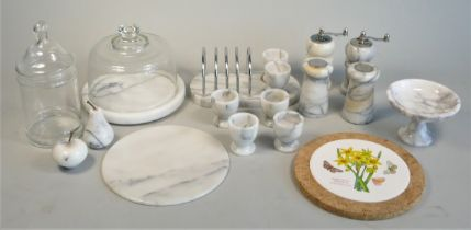 A collection of Royal memorabilia ceramics and other items to include marble kitchen wares. (2)