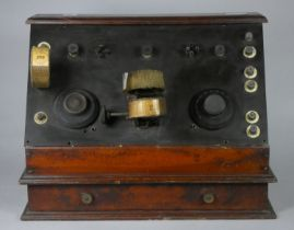 A 1920's home made radio with black enonite front panel with two 4 pin valve sockets, with