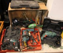 A Bosch 1180.7 600w drill in case with drill bits, together with a Parkside PSSA 3.6 D4 cordless