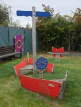 A Playdale outdoor/playground play ship, featuring themed CGL coloured panels, stern and bow seating