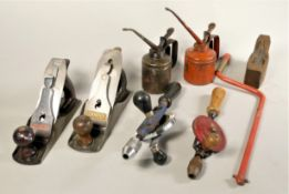 A selection of hand tools to include a Stanley 'Bailey' hand plane No 4, a Stanley Record plane, a