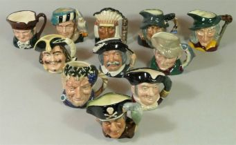 A collection of eleven Royal Doulton miniature Toby jugs, to include : D5527 Old Charley D6386