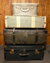 Mid Century shipping/traveling cases together with an early wood & brass bound sailor's trunk. (4)