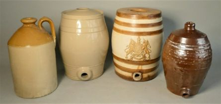 A Doulton glazed stoneware crock gin keg, royal coat of arms, two toned brown & cream, together with