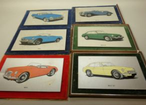 A set of ten automobile prints on polished aluminium sheets, together with a framed print