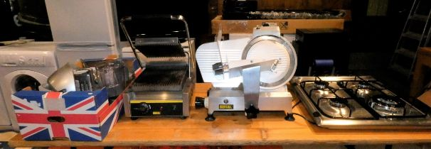 Catering Equipment - To include a Indesit gas hob (as new) a Buffalo meat slicer, model number