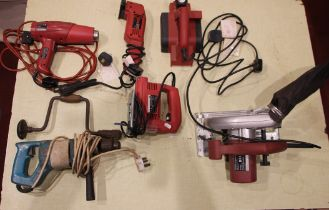 A Nutool Power (CH152) bench grinder, together with a range of Power Devil electric tools