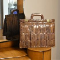 J Perez Ladies expandable briefcase bag, brown skins, brass openers with keys brown leather handles,