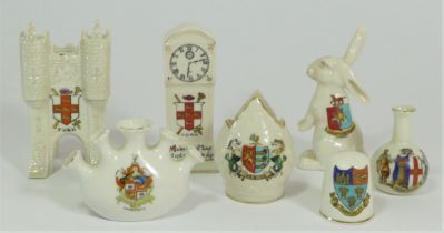 A collection of seven early 20th century crested china models to include, Micklegate Bar York, a