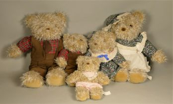 Five plush teddy bears together with, a collection of porcelain dolls to include 'The Classique