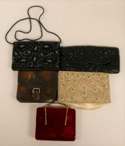 A lady's evening bag with floral design decoration set with emerald glass beads, imitation pearls