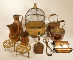 A collection of copper and brass ware, ceramics and kitchenalia, to include a Tiffany style
