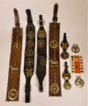 A collection of nineteen authentic horse brasses, attached to leather belts