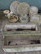 Nine garden planters and ornaments, including a frog, miniature bird bath, a pair of composite