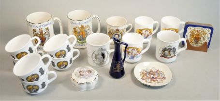 A collection of Royal memorabilia ceramics and other items to include marble kitchen wares. (2) To