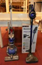 A Beldray Airgility Max cordless vacuum cleaner with box, together with a Dyson Ball vacuum