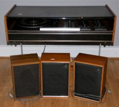 A Decca Sound Compact 3 entertainment system, with turntable and radio, teak cabinet on metal