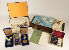 A collection of assorted Masonic wares to include, tie and cufflinks set, Driffield Rotary