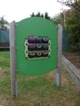 A giant outdoor/playground Noughts & Crosses game, made by Playdale, double-sided, nine rotating