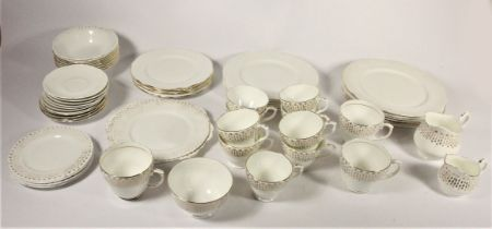A Duchess 'Raindrop' part dinner service with milk jug and sugar bowl, together with other