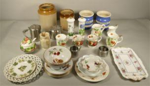 A pair of Cornish Ware ceramic utensil pots, Port Merrion salt and pepper pots, Royal Worcester '