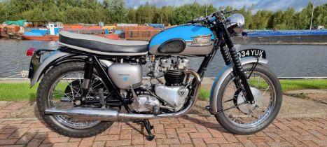 1960 Triumph Tiger 110/Bonneville spec, 650cc. Registration number 334 YUX (non transferrable).