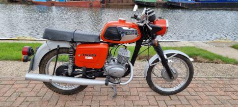 1987 MZ TS125, 125cc. Registration number D480 LNW. Frame number 8860160. Engine number 7502648. The