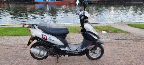 2012 Baotian BT49QT-9D scooter, 49cc. Registration number YX12 BWM. Frame number
