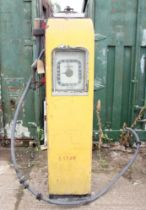 An Avery Hardoll petrol pump with half gallon face, pump and hose, patent no.410.13, 183 x 56 cm