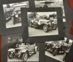 Thirty six black and white photographs depicting VVC motor cars together with vintage ephemera
