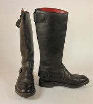 A pair of Lewis leather tall motorcycle boots, size 9, 45 cm