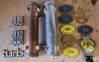 A Regal copper fire extinguisher, a Regal Chrome example, 7 brass rally badges, and AA badge and 3