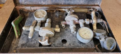 A BOC set of vintage acetylene gauges, cased, untested