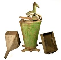 A cast iron Baelz oil gear hand pump with hose,74 cm, together with two funnels 32 x 28 cm